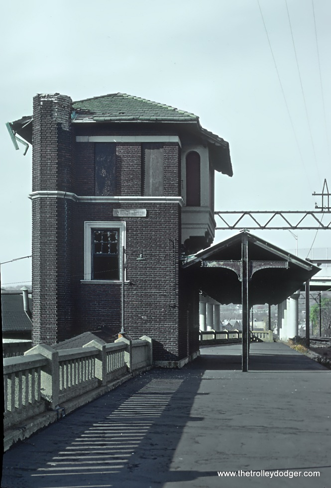 ex-DL&W Tower located eastbound side at Orange NJ station on Morristown Line in November 1978