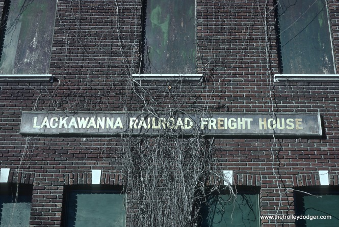 Lackawanna Railroad Freight House at Morristown NJ on Morristown Line former M&E Division of Lackawanna RR in November 1978 R26