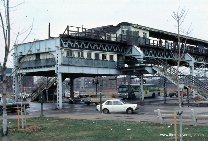 "CTA 7616 63rd-Stony Island (east terminal of the Jackson Park ""L"") in 1974."