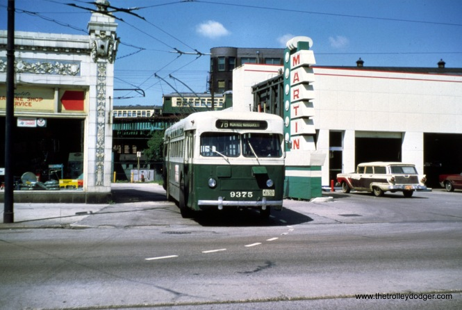 "CTA 9375 at the east end of the Montrose trolley bus line, near the Wilson Avenue ""L"" station... about to turn south on Broadway. (Jeff Wien Photo, Wien-Criss Archive)"
