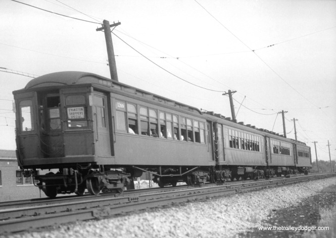 "A four-car Evanston Shopper's Special. The front car is 1269. Don's Rail Photos: ""1269 was a trailer built by American Car & Foundry in 1907, #5098, as NWERy 269. It was renumbered 269 in 1913 and became CRT 1269 in 1923."" This picture was taken on August 6, 1937 by Otto C. Perry. A version with less cropping is on Don's Rail Photos."