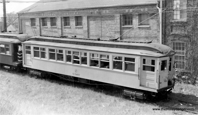 CTA work car S-340, taken at the same location, and on the same IERM fantrip, as the previous picture. The date is April 20, 1958.