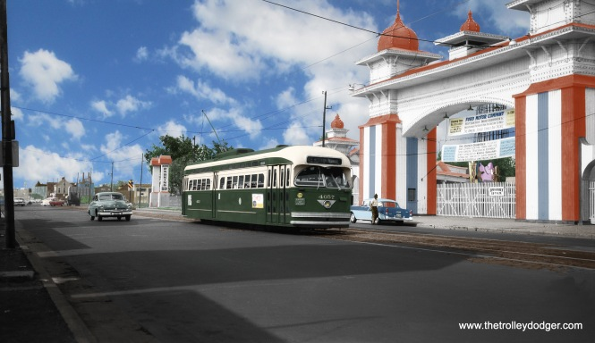In 2016, Jeff Wien hired Rick Foss to add realistic color to what had been a black-and-white image, a rare shot of a PCC streetcar passing the entrance of Riverview Amusement Park on Western just north of Belmont in 1956. The results were spectacular. (Wien-Criss Archive)