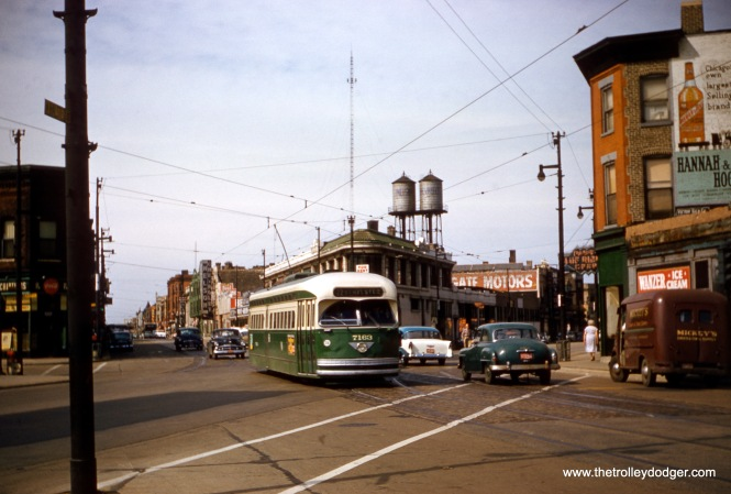 CTA 7163 is southbound at Clark, Halsted, and Barry in July 1957. A version of this photo, taken from a duplicate slide, appears on page 170 of B-146, mistakenly credited to Charles L. Tauscher. (Robert Heinlein Photo)