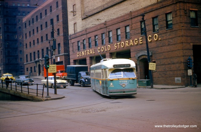 CTA 7192 at Kinzie and Dearborn in 1957. (Robert Heinlein Photo)