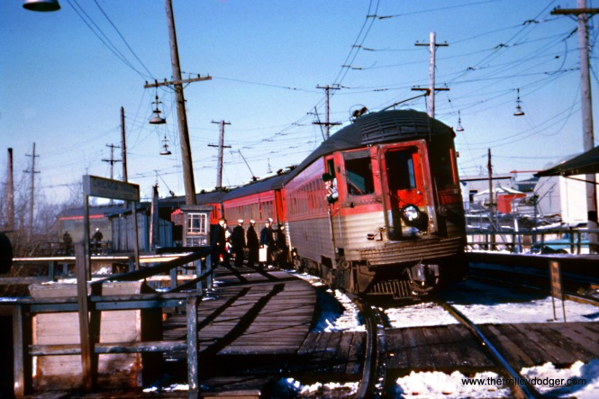 Chicago North Shore & Milwaukee 764 heads up a train at North Chicago Junction on January 16, 1960. (William D. Volkmer Photo, Wien-Criss Archive)