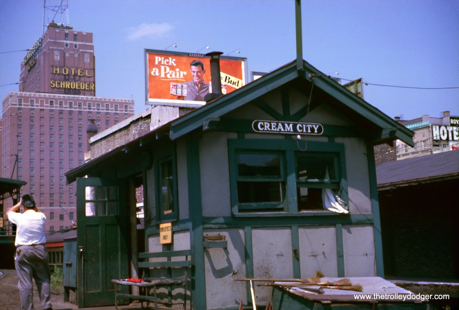 "A North Shore Line employee's shanty at the Milwaukee Terminal on June 17, 1962. ""Cream City"" is a nickname for Milwaukee. I believe a fantrip was held on that day, which helps explain the photographer at left. (Wien-Criss Archive)"