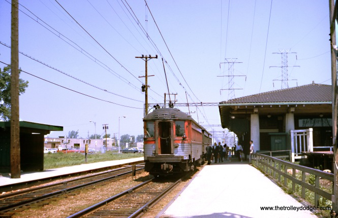 North Shore Line car 758 is at the rear of a northbound train at Dempster Street in Skokie in August 1962. This is now where the CTA Yellow Line ends, and the historic station building has been moved a short distance away, but has been restored. (Wien-Criss Archive)