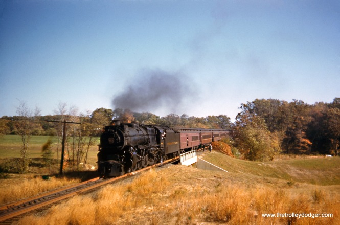 "Pennsylvania Railroad steam train 612 at the Parkway overpass, Sea Girt, NJ, October 20, 1957. #612 was a K-4S (4-6-2) ""Pacific"" built in Juniata during 1917 and retired in April 1958. (Wien-Criss Archive)"
