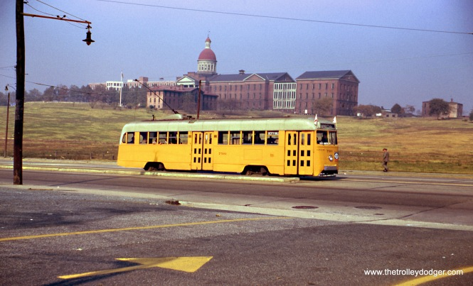 Baltimore Transit Company Brilliner 7501 on the Eastern Avenue route. It was built on December 19, 1938. Jeff was actually in Baltimore on the last day of streetcar service on November 3, 1963. Light rail transit returned to the Baltimore area in 1992. (Wien-Criss Archive)