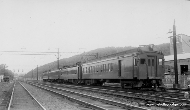 A Delaware, Lackawanna and Western electric commuter train in New Jersey. This railroad merged with the Erie in 1960 to form the Erie Lackawanna. The commuter service continues under NJ Transit.