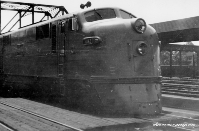 "Chicago & Eastern Illinois #4, the ""Whippoorwill,"" arrives at 63rd Street (Little Englewood Station) in July 1947."