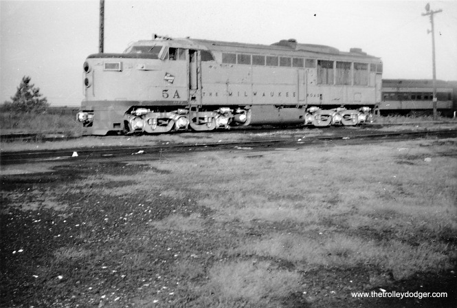 A Milwaukee Road diesel engine at Fox Lake, IL.