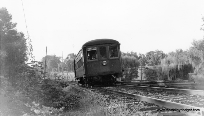 "P&W Strafford car 162 on September 28, 1958. Don's Rail Photos: ""62 was built by Brill in June 1927, #22529. It was rebuilt as 162 in 1931 and became PST 162 in 1948. It became SEPTA 162 in 1970. It was sold to Rockhill Trolley Museum in 1991."" Today it is the only survivor of the fleet preserved as a modernized 160 series car."