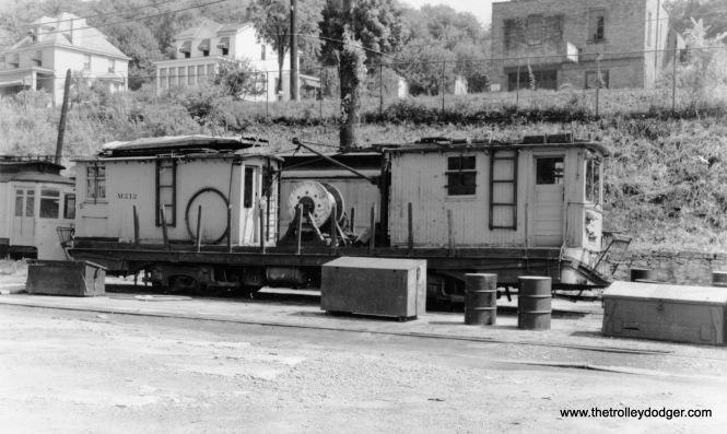 "Pittsburgh Railways line car M212 at the Washington Junction Yard. Larry Lovejoy: ""The photo of Pittsburgh Railways line car M212 is at Castle Shannon Car House. There was no yard at Washington Junction, which is about a mile south of Castle Shannon."""