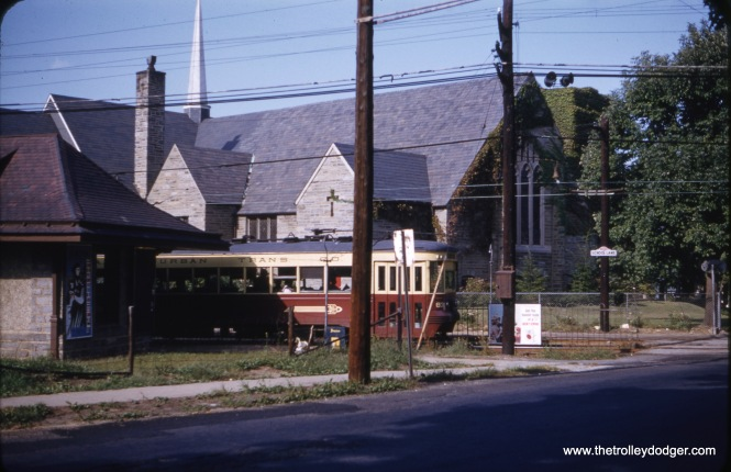 Red Arrow car 83 on the Media line in September 1959. The street sign says School Lane.