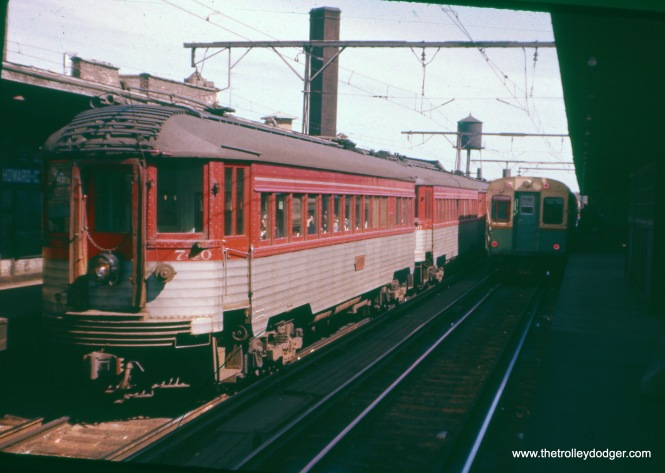 North Shore Line Silverliner 740 at Howard Street, probably in the late 1950s. This was an Ektachrome slide that was not date stamped, which means it is probably before 1958, but after 1955. It had faded to red, like many other such early Ektachromes that had unstable dyes. It was an attractive alternative to Kodachrome in that era, though, because the film speed was 32 instead of Kodachrome's 10.