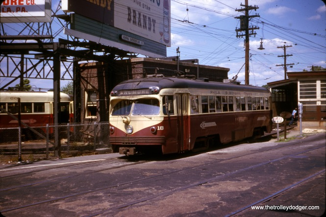 "Philadelphia Suburban Transportation Company (aka Red Arrow) double-ended car 18 at 69th Street Terminal in July 1963. Don's Rail Photos: ""18 was built by St Louis Car Co in 1949, #1755. It became SEPTA 18 in 1970 sold to BERA in 1982."""