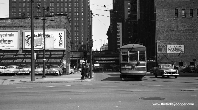CTA Lake Street car 1743 is turning north at Randolph and Franklin on April 18, 1953.