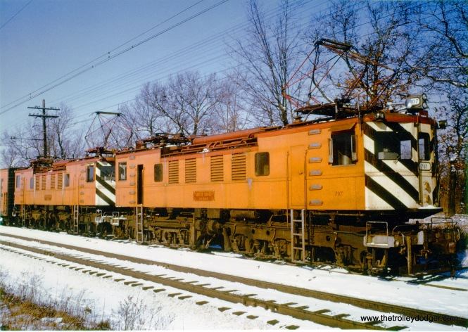 "South Shore Line freight loco 707. Don's Rail Photos: ""707 was built by Alco-General Electric in June 1931, #68270, 11193, as NYC 1242, Class R-2. It was renumbered 342 in August 1936. In July 1967 it was rebuilt as CSS&SB 707. It was scrapped in April 1976."""