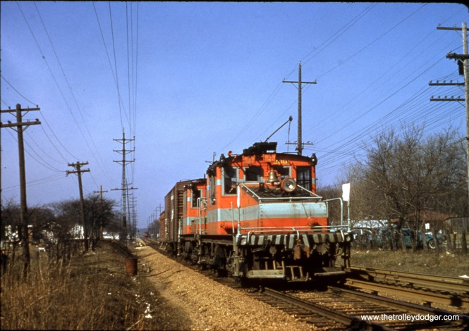 CA&E freight in Lombard on November 23, 1957.