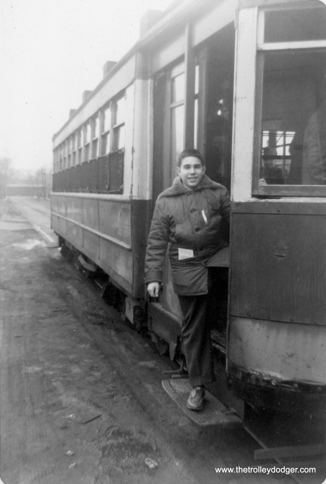 Here is Jeff at 15, taking part in a fantrip on a red Chicago streetcar on February 10, 1957.