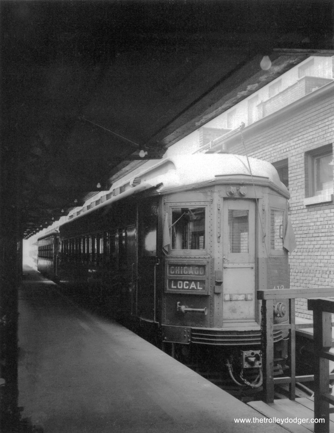 A two-car CA&E train at the Wells Street Terminal. This might be car 412, built in 1923 by Pullman.