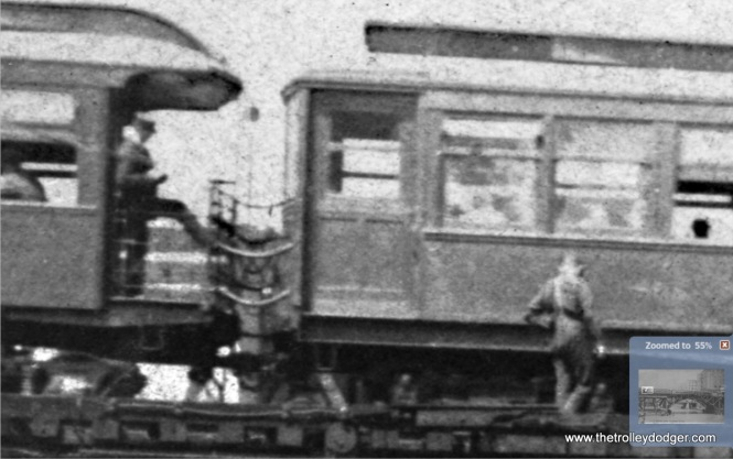 A close-up shows the train was probably stopped when this picture was taken.