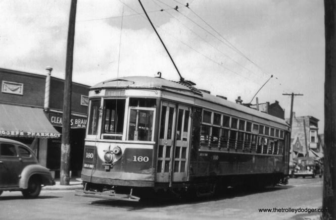 Chicago & West Towns Railways streetcar 160 on Hillgrove Avenue at Brainard Avenue in the 1940s. This was the end of the long LaGrange line, which also served the Brookfield Zoo and had some private right-of-way.