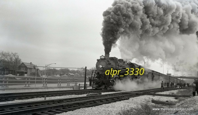 I unfortunately did not win the auction for this negative from 1961, but it does at least show that steam actually did operate over the new B&OCT tracks that were relocated next to I-290, the Eisenhower Expressway (during an excursion). Who knew? The loco is Grand Trunk Western #5629. The location is in Forest Park, just west of Circle Avenue (the bridge in the distance, with an auxiliary entrance to the CTA Congress median rapid transit line).